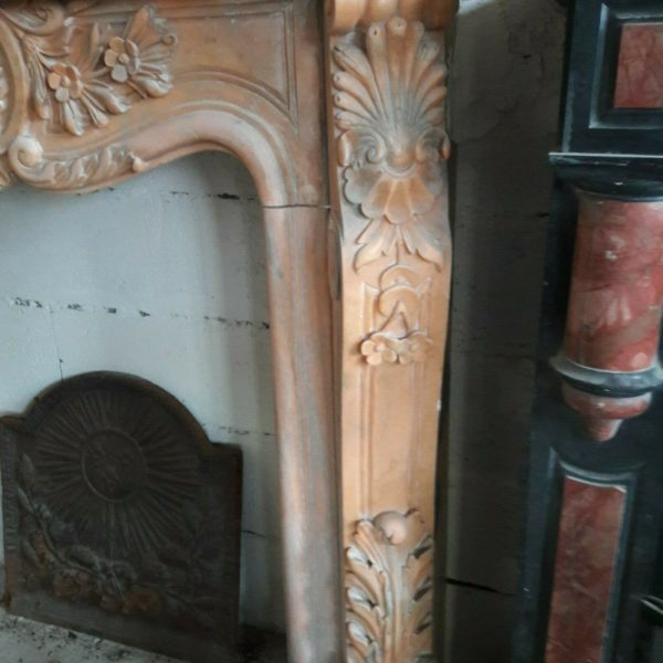 Cheminée en marbre rose et gris richement ornée Pink and grey marble fireplace richly ornamented.
