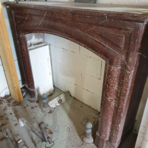 original red marble fireplace, Empire style