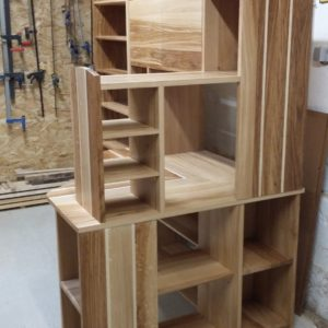 bookcase in brown oak and sycamore maple made to measure possible French handcrafted