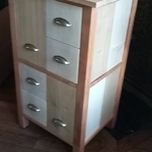 disc player cabinet in solid oak and maple waxed finish for 33 t disc and 4 cd drawers