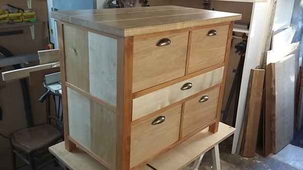 TV cabinet in oak, maple and solid cherrywood, waxed finish, handcrafted in France