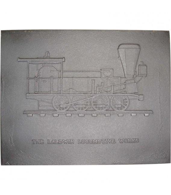 PLAQUE DE CHEMINÉE DÉCORÉE - BALDWIN LOCOMOTIV / 21 Référence: 0811 Dimensions l. 57,0cm H. 62,5cm 151,61 €
