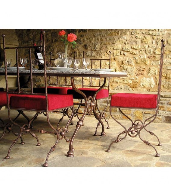 TABLE AND 6 CHAIRS Reference: 0579 Long. 160 cm l. 90 cm H. 76 cm € 1,866.00