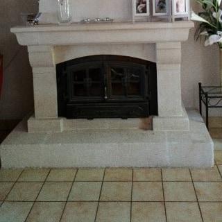 Contemporary stone fireplace