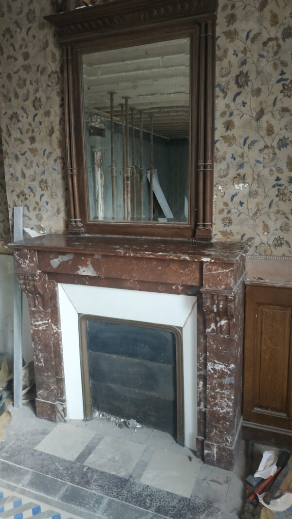 Empire red marble fireplace